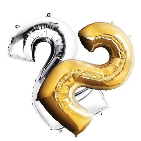 Balão Metalizado Dourado e Prata  Número 2  - 80cm