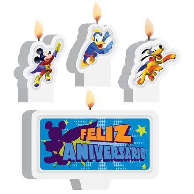 Vela Plana Mickey Super Heroi  Kit C/4