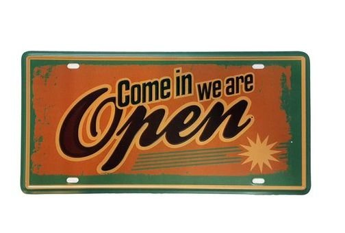 Placa Metal Come in We Are Open
