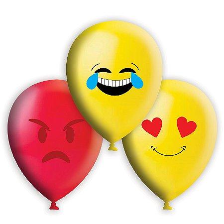 Balão / Bexiga Happy Day Nº11 | Emoticons Sortidos | C/25