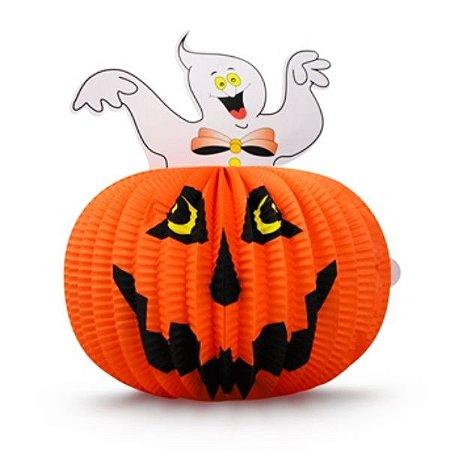 Enfeite Abóbora com Fantasma Halloween