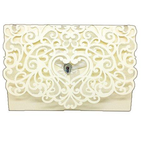 Envelope P/ Convite Casamento Luxo C/ Laço e Brilhante C/300