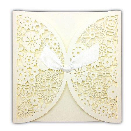 Envelope P/ Convite De Casamento Luxo C/ Laço C/100