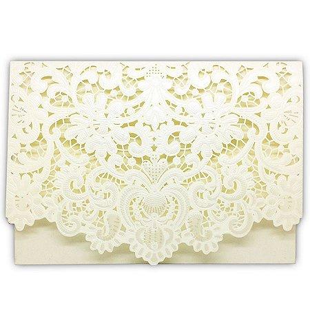 Envelope P/ Convite de Casamento Luxo Ret. Rendado C/300