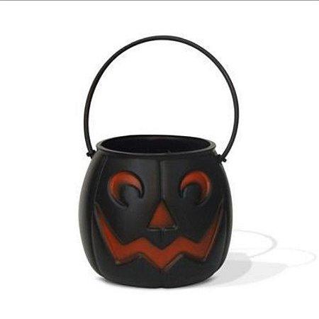 Balde Abóbora Halloween Preto Médio