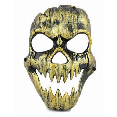 Máscara Caveira Metalizada Dourada Halloween