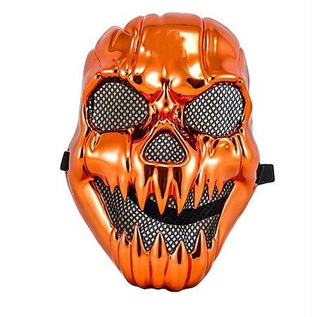 Máscara Caveira Metalizada Laranja Halloween