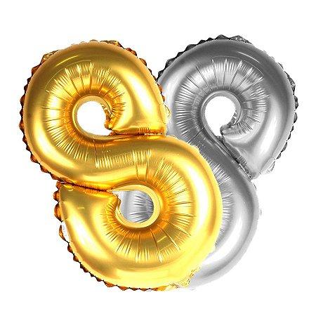 Balão Metalizado Dourado e Prata Número 8 | 80cm