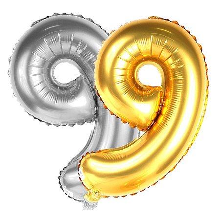 Balão Metalizado Dourado E Prata Número 9 | 80cm