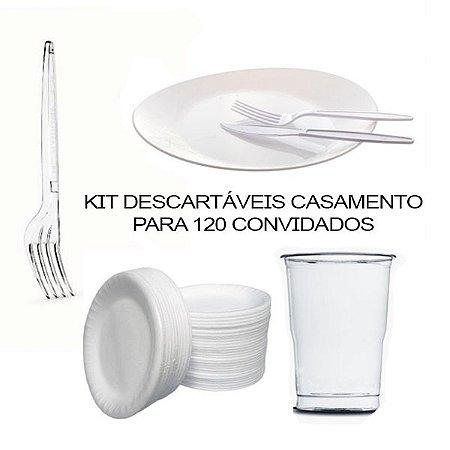 Kit Descartáveis Casamento de 120 Convidados