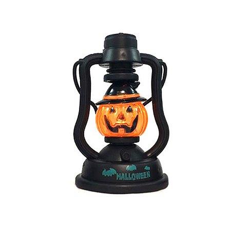 Mini Lanterna Abóbora Halloween Com Luz e Som