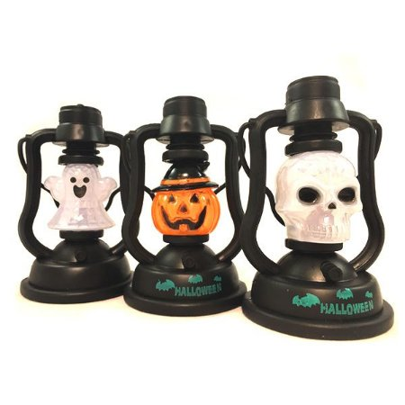 Kit Mini Lanterna Halloween Com Luz e Som C/3