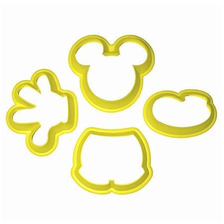 Cortador Mickey Mouse Com 4 Peças