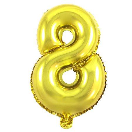 Balão Metalizado Número 8 | 35cm | Dourado e Prata | UN