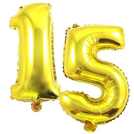 Kit Balão Metalizado 35cm | 15 Anos | Dourado