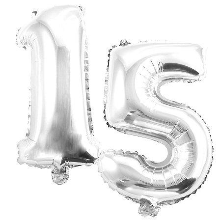 Kit Balão Metalizado 35cm | 15 Anos | Prata