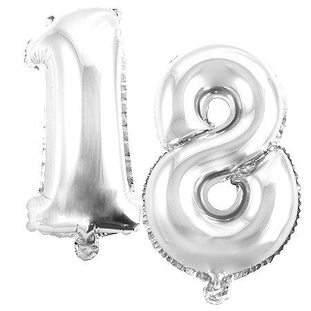 Kit Balão Metalizado 35cm | 18 Anos | Prata