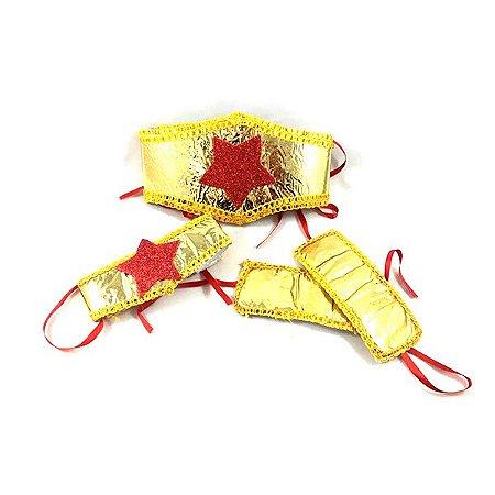 Kit Fantasia Mulher-Maravilha Dourado