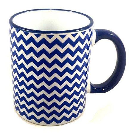 Caneca Cerâmica Azul Listrado