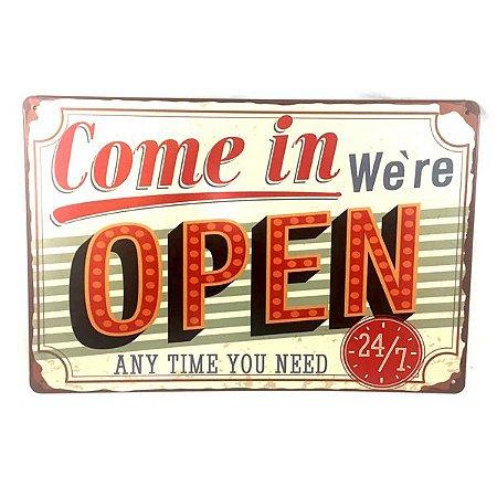 "Placa em Metal ""Open"""
