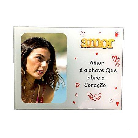 "Porta Retrato Vidro ""Amor é a Chave"" 10x15"