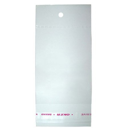 Saco Adesivado Transparente | 6cmx7cm + Aba C/ Furo | C/100