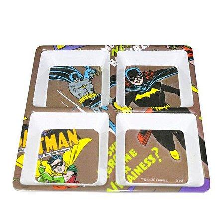 Petisqueira Quadrada Batgirl e Batman   Melamina