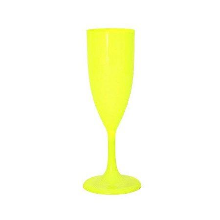Taça de Champanhe Acrílica Neon Amarela | C/05