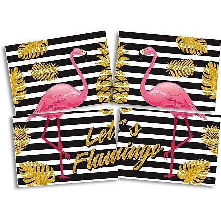 Painel 4 Partes Let's Flamingo