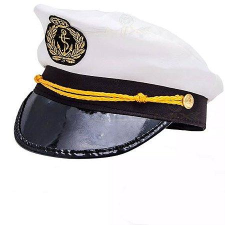 Quepe Capitão Marítimo Simples Para Fantasias