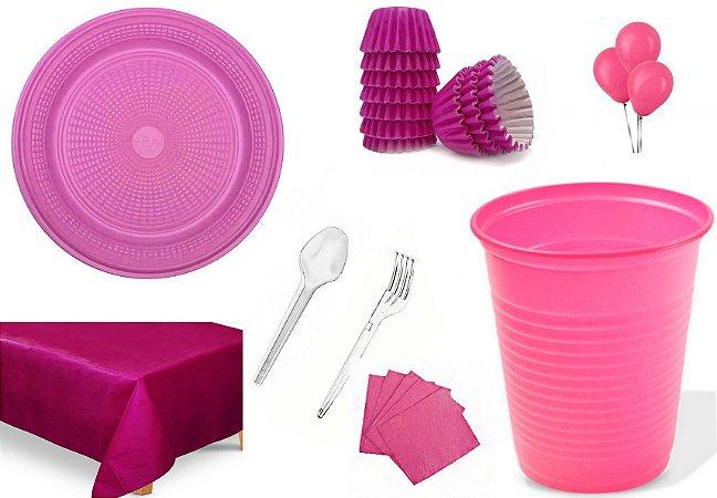 Kit Rosa Pink Para 50 Pessoas - Descartáveis