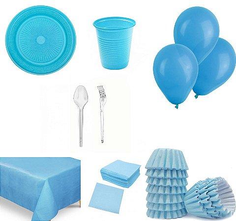 Kit Azul Para 50 Pessoas - Descartáveis