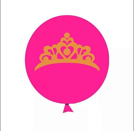 Balão / Bexiga N11 Coroa Pink Glitter | C/12