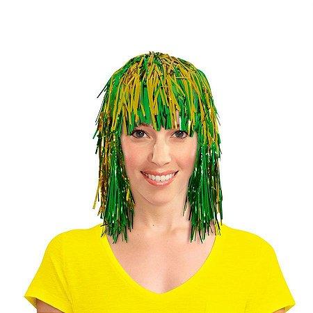 Peruca Metalizada Verde e Amarelo Brasil
