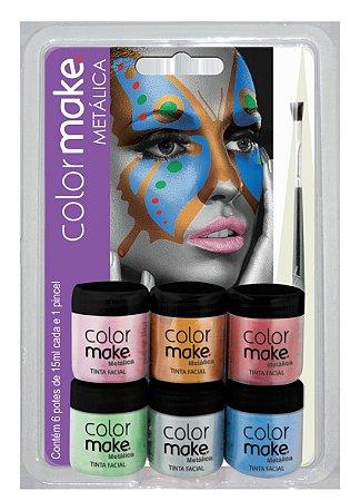 Tinta Líquida Metálica 15ml C/6 + Pincel   Color Make
