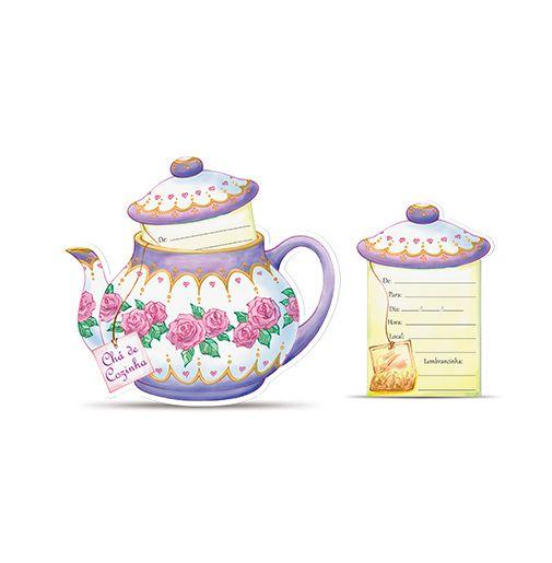 Convite Chá de Cozinha Bule C/8