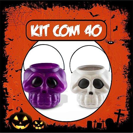 Balde Esqueleto / Caveira Halloween Pequeno Kit Misto C/40