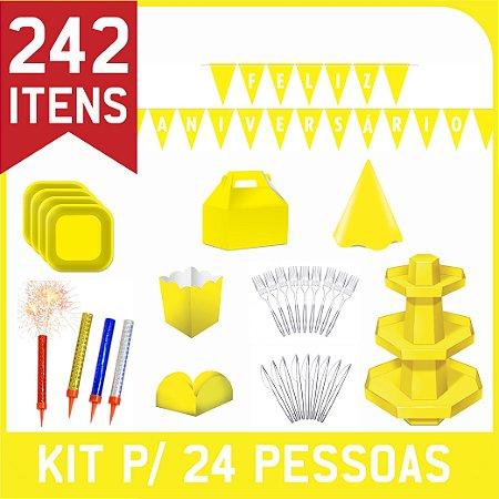 Kit Descartáveis Para Festa | Cor Amarela | P/ 24 Pessoas