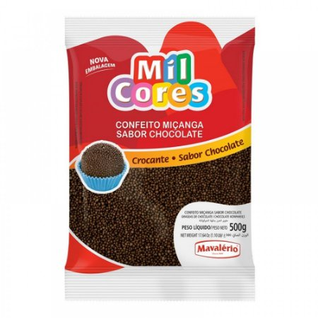 Confeito Para Brigadeiro Redondo Miçanga Chocolate 500g