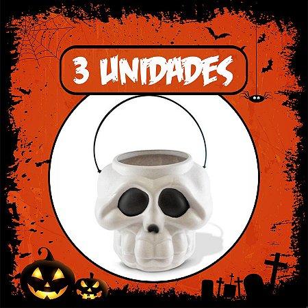 Balde Esqueleto / Caveira Halloween Branco Grande | Kit C/3