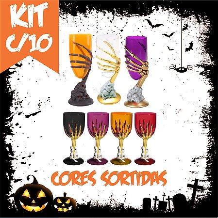 Kit Taça Halloween Grande e Média | Cores Sortidas | C/10