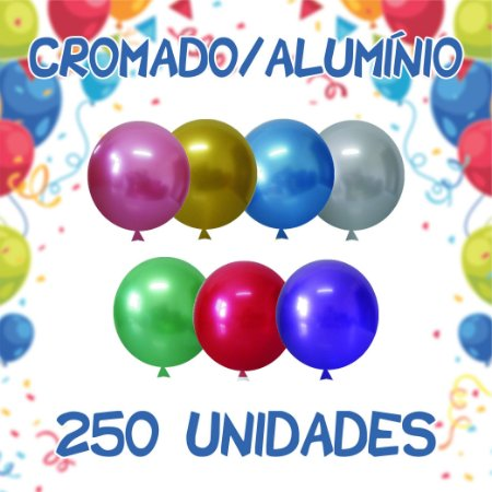 Balão/Bexiga Happy Day Cromado Alumínio N9'' | 250 Unidades