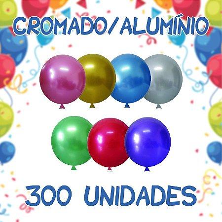Kit Balão/Bexiga Happy Day Cromado Alumínio N5'' | C/300