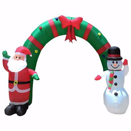 Arco Inflável Natal C/ Papai Noel e Boneco de Neve 2,40m
