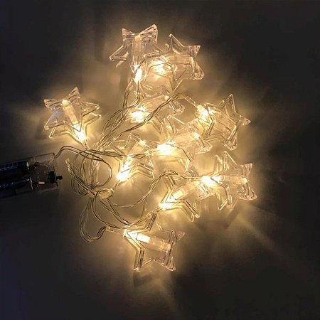 Cordão Luminária Decorativa LED Prendedor Estrela