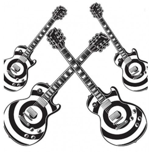 Kit Decorativo Guitarra Branca e Preta C/4
