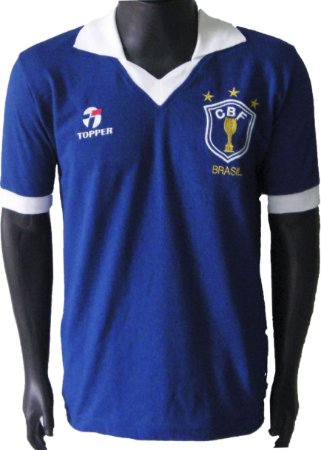 Camisa Retrô Seleção Brasileira Brasil 1986 Azul