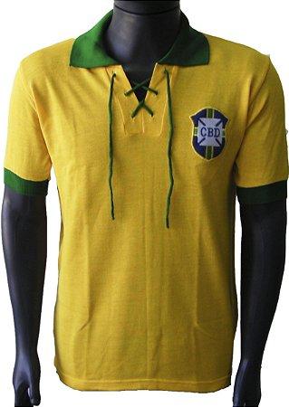 Camisa Retrô Seleção Brasileira Brasil c/ Cordinha