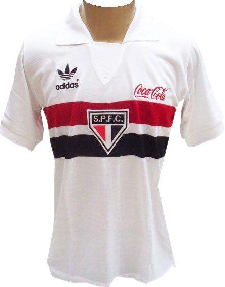 Camisa Retrô São Paulo SPFC Coca Cola Branca 1989
