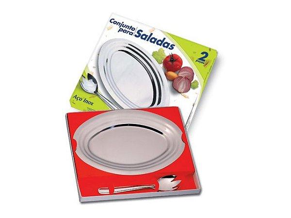Travessa Salada + Pegador Conjunto 2 Peças Golden Inox
